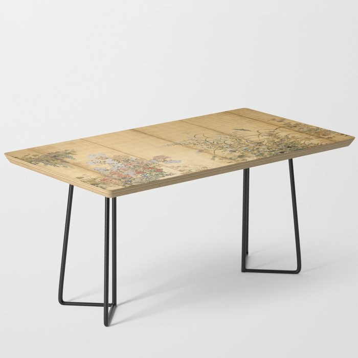 Japanese Edo Period Six-Panel Gold Leaf Screen - Spring and Autumn Flowers Coffee Table