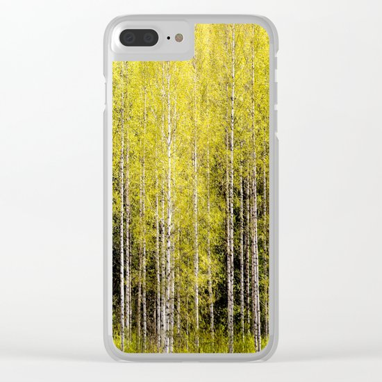 Lovely spring atmosphere - vibrant green leaves on the trees - beautiful birch grove Clear iPhone Case