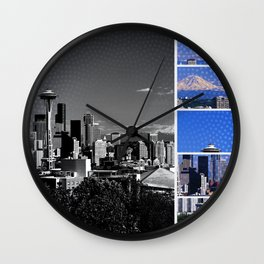 Seattle Blue Grey Mosaic Wall Clock