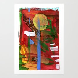 Abstract Art with Blue Stripe Art Print