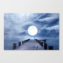 Full Moon At The End Of The Pier Canvas Print