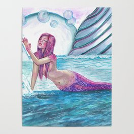 Andromeda Mermaid Fantasy Art by Laurie Leigh Poster