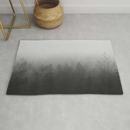 fog forest landscape photography - trees and clouds black and white   Rug
