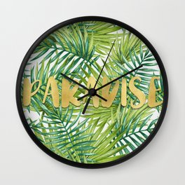 Paradise in Hawaiian Palm Tree Leaves Wall Clock