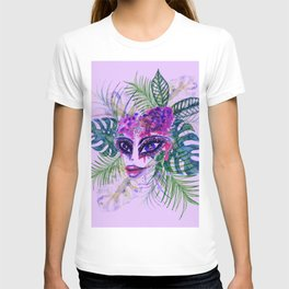 Purple Woman with Tropic leaves T-shirt