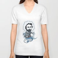 writer V-neck T-shirts featuring Jules Verne Holy Writer by roberto lanznaster