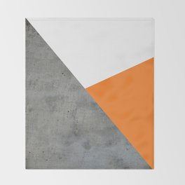 Concrete Tangerine White Throw Blanket