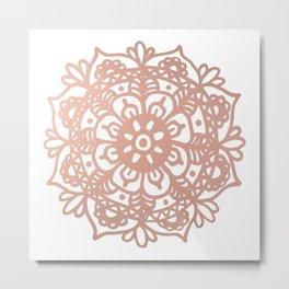 Rose Gold Mandala Redux Metal Print