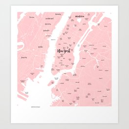 New York Map in the Eyes of a Girl who loves Calligraphic fonts Art Print