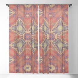 Chestnut Greek Cross Sheer Curtain