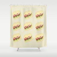 hamburger Shower Curtains featuring Hamburger by Berta Merlotte