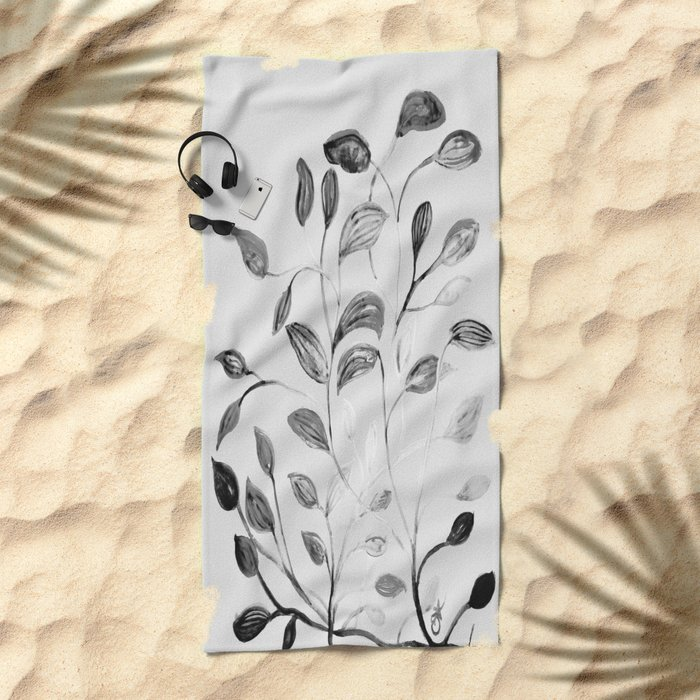 Red and Green Leaves! Romantic Silver Grey! Beach Towel