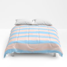Trendy Stripes - Sweet Peach Coral on Blue Raspberry Comforters
