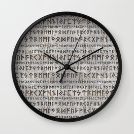 Elder Futhark Pattern on birch texture Wall Clock