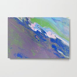 Fluid Art Acrylic Painting, Pour 9, Purple, Green, Blue, White & Pink Blended Colors Metal Print