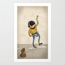 Hipster & Pet Art Print