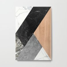 Marble and Wood Abstract Metal Print