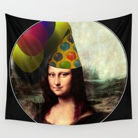 mona lisa Wall Tapestries featuring Mona Lisa Birthday Girl by Gravityx9