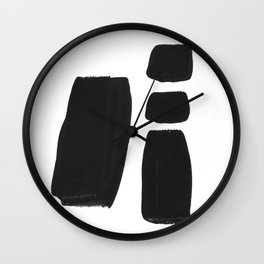 Black And White Minimalist Mid Century Abstract Ink Art Simple Brush Strokes Square Exclamation Mark Wall Clock