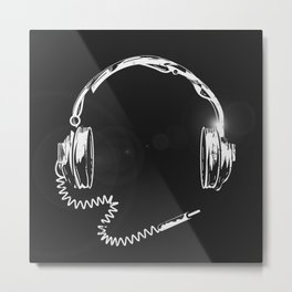 Retro headphones with cable Metal Print