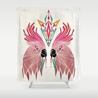 parrot Shower Curtains featuring parrot by Manoou