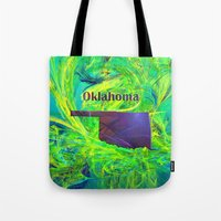 oklahoma Tote Bags featuring Oklahoma Map by Roger Wedegis