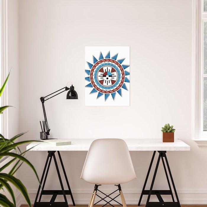 Southwest Native American Art Mandala Poster