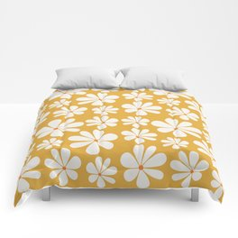 Floral Daisy Pattern - Golden Yellow Comforters
