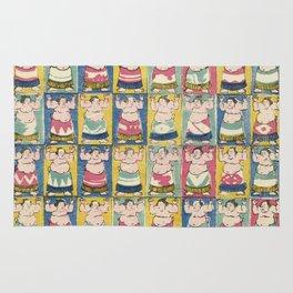 Sumo Wrestlers, Utagawa Yoshikazu, Woodcut Rug