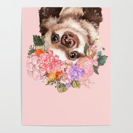 Baby Sloth with Flowers Crown in Pink Poster
