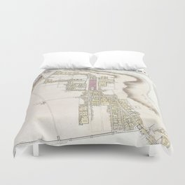 Vintage Map of Pompeii Italy (1832) Duvet Cover