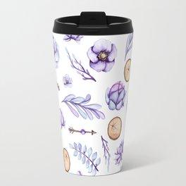 Hand painted violet lavender watercolor boho floral Travel Mug