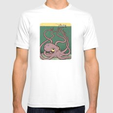 Evil Octopus MEDIUM Mens Fitted Tee White