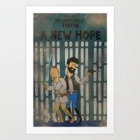 tintin Art Prints featuring rare tintin comic by space boy studios