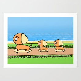 Cute Cartoon Dogs on Skateboards Art Print