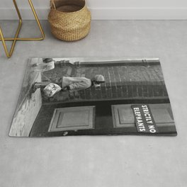 'Strictly No Elephants' vintage humorous child verses the world black and white photograph / black and white photography Rug