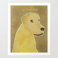labrador Art Prints featuring yellow labrador by bri.buckley