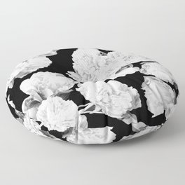 White Peony Flowers Black Background #decor #society6 #buyart Floor Pillow