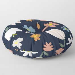 Blooming in the Navy (Handmade Floral Pattern) Floor Pillow