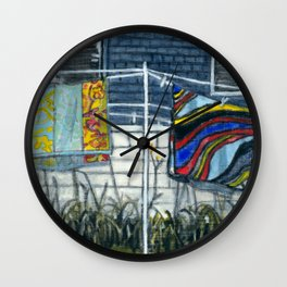 Beach Towels Hanging to Dry Wall Clock