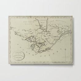 Vintage Map of The Great Lakes (1794) Metal Print