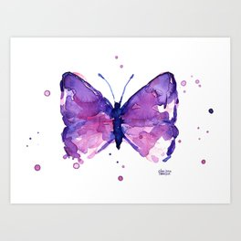 Butterfly Purple Watercolor Animal Art Print