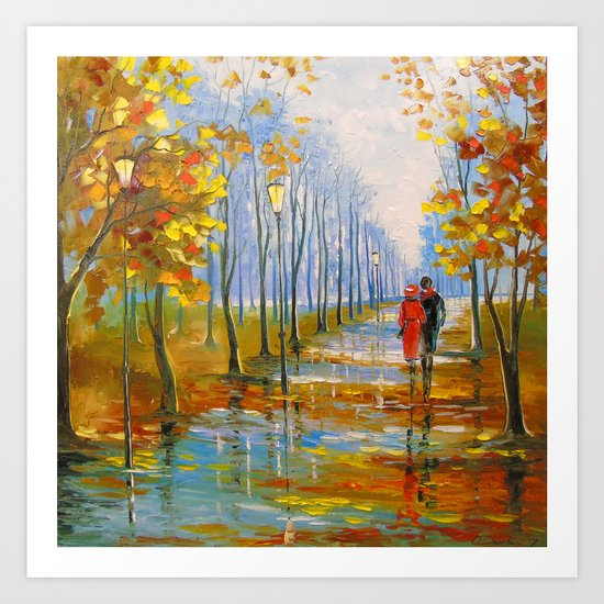 A walk in the Park after the rain Art Print