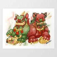 foo fighters Art Prints featuring Happy Happy Foo Foo by JoJo Seames