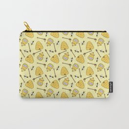 Honeybee and Beehive Pattern Carry-All Pouch