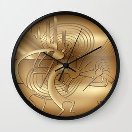 Magical Kokopelli in Bronze Mist Wall Clock
