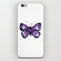 Purple Butterfly Watercolor Abstract Animal Art iPhone & iPod Skin