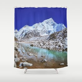 Mount Nuptse view and Mountain landscape view in Sagarmatha National Park, Nepal Himalaya. Shower Curtain