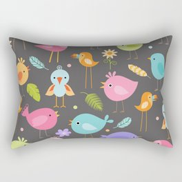 Birds - Gray Rectangular Pillow