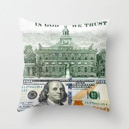 cash money old Ben 100 bucks dollars  us currency  in God we Trust Throw Pillow